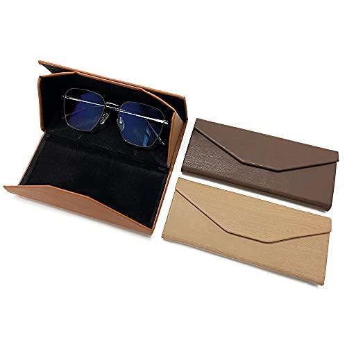 alladaga 3 fundas plegables para gafas de sol, triangulares, de piel portátil, para hombres y mujeres