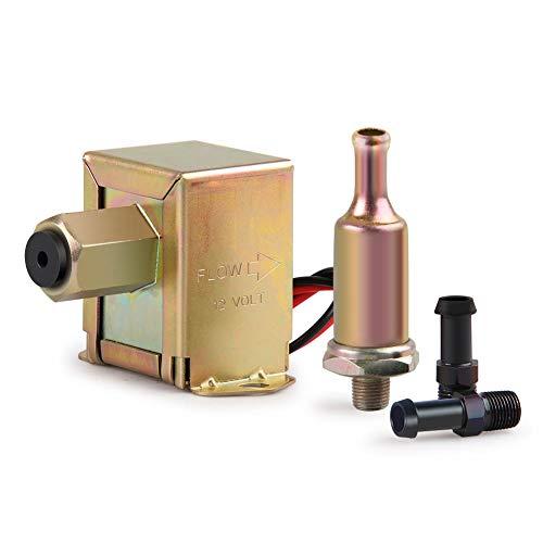 CarBole Bomba combustible eléctrica universal 12v alambre sujeción perno resistente gasolina diésel combustible línea metal baja presión HEP-02A para carburador coches furgonetas camiones (2,5-4 PSI)