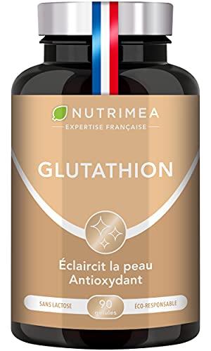 Glutathion - Réduit à 98% - Nutrimea - Formule avec Précurseurs + Vitamine C - Renforce l'Immunité, Antioxydant - Anti-âge, Peau Illuminée - 90 gélules vegan gastro-résistantes - Fabriqué en France