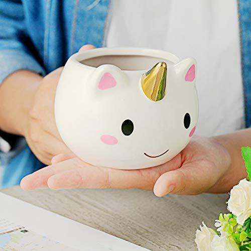 N/ A Taza de Unicornio de Dibujos Animados de 350 ml, Taza de café de cerámica Divertida, Regalo de Taza de Dolor de Mano de niño niña niño Lindo Unicornio