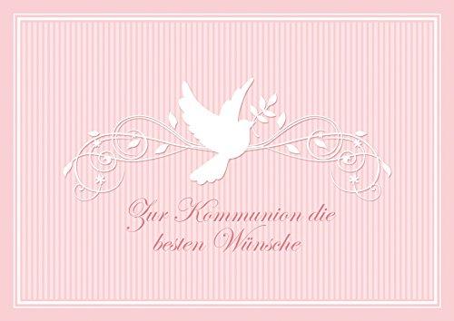 Zur Kommunion Die Besten Wünsche Schöne Glückwunschkarte Zur Kommunion Klappgruÿkarte Für Ein Mädchen in Rosa Mit Einem Ornament Und Taube (Mit Umschlag) (1)
