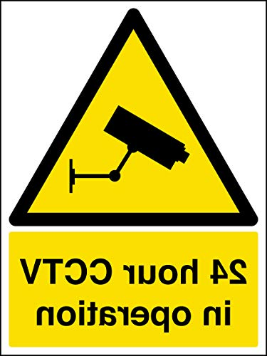 VSafety 24 ore CCTV In Operation Warning Security Sign – 150 mm x 200 mm – Adesivo per finestra autoadesivo