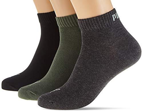 PUMA Unisex Plain Quarter Socken, Grün, 39/42 (3er Pack)