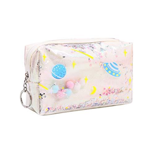wanzhaofeng La Caja de lápiz de la Cremallera holográfica dominante Portable Monedero Maquillaje cosmético del Bolso de la PU de Escritorio Bolsa de Almacenamiento