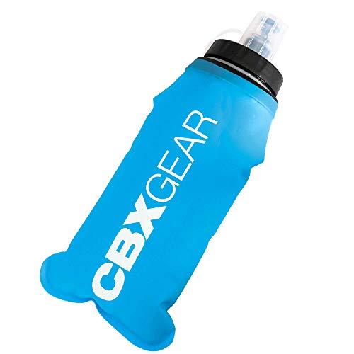 CBX GEAR Botella de Agua Deportiva 500ml Azul Soft Flask para Correr, Running, Senderismo, Escalada