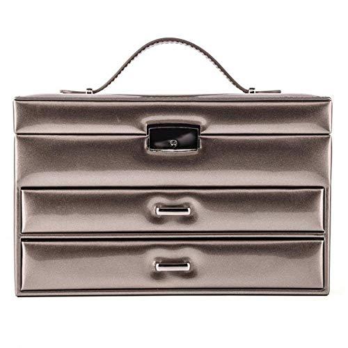 WSJTT Organisateur Commode - boîte à Accessoires de Bijoux de Luxe, Plateau de tiroir, boîte de Rangement de Bijoux en PU Noble européen (Color : Gold)