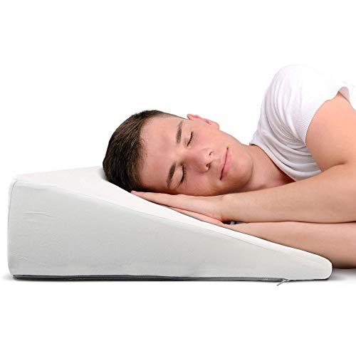 Almohada cuña, 60cm, Oeko-Tex - Respaldo Cama Duro con Funda Suave - Cojin Lectura y cuña antireflujo Adulto Blanca de DYNMC YOU