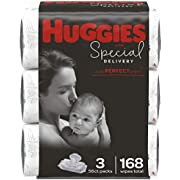 Huggies Special Delivery Hypoallergenic Baby Wipes, Unscented, 3 Flip-Top Packs of 56 Wipes Each (168 Wipes Total)