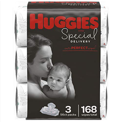 Huggies Special Delivery Hypoallergenic Baby Wipes, Unscented, 3 Flip-Top Packs (168 Wipes Total)