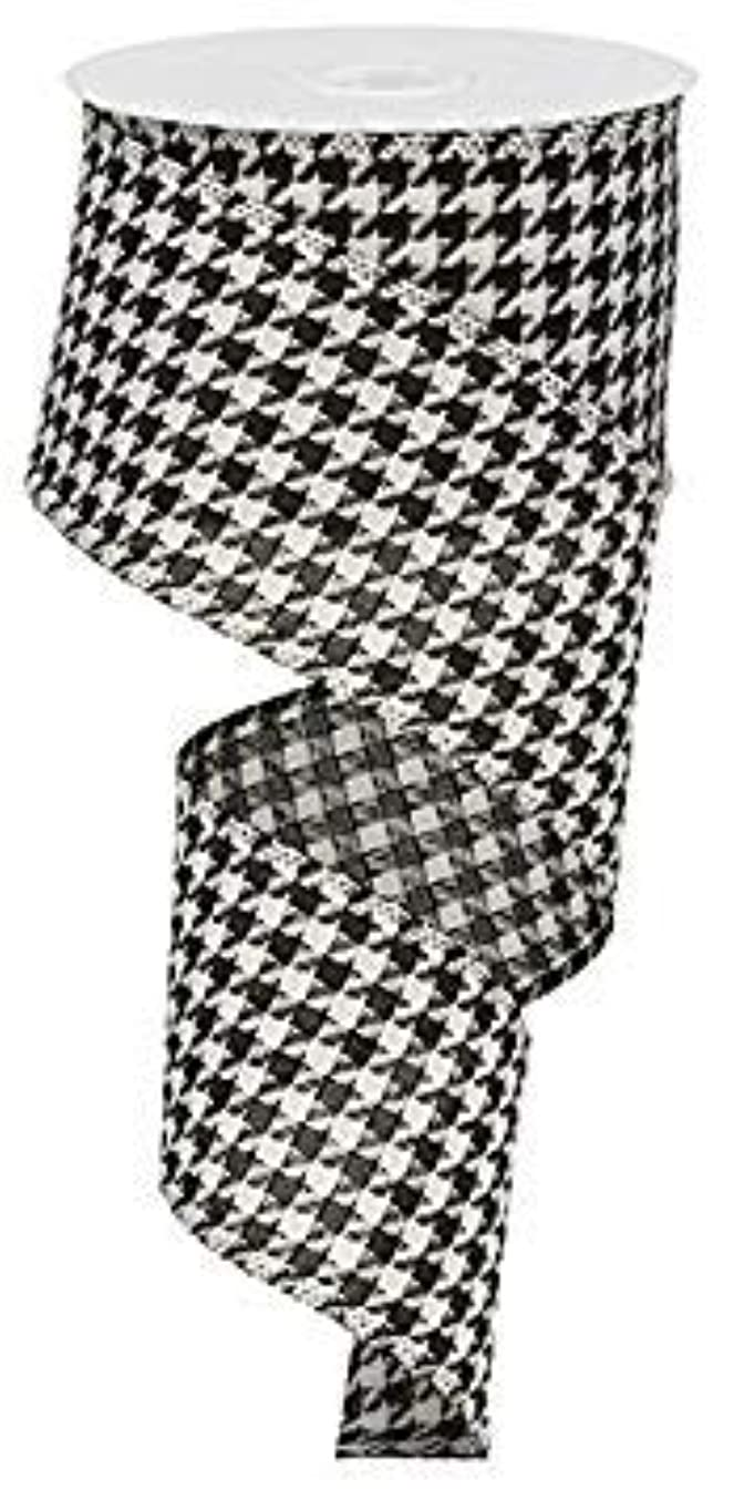 Large Houndstooth Wired Edge Ribbon, 2.5