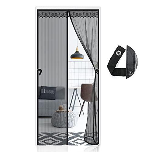 AUGOLA Cortina Mosquitera Magnética para Puerta con Alzapaños100 x 220 cm, Mosquitera Para Puertas Cortina de Sala de Estar,Cortina de Protección contra Insectos , Cortinas Antimoscas Exterior,Negro