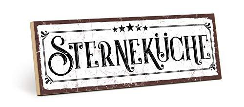 TypeStoff Holzschild mit Spruch – STERNEKÜCHE – im Vintage-Look mit Zitat als Geschenk und Dekoration (Größe: 28,2 x 9,5 cm)