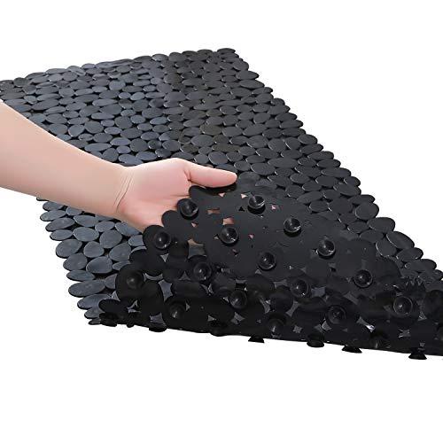 Fomoom 35'x16' - Black - Non Slip Bathtub Mat, Pebbles Shower Bath Mat, Bath Tub Mats with Drain Holes, Suction Cup
