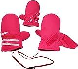 Fausthandschuhe / Fäustlinge - mit langem Schaft + Klettverschluß - Größen: 2 bis 3 Jahre -  Sterne & Streifen - rosa / pink  - LEICHT anzuziehen ! mit Daum..