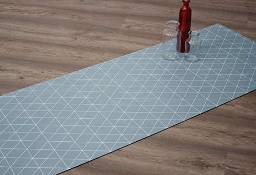 Comercial Candela Alfombra de Pasillo de Textil Resinado Antimanchas, Lavable | Base PVC Antideslizante y Aislante Diseño Triangular (Azul, 52_X_250 CM)