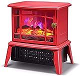 HCYY Chimenea eléctrica empotrada en la Pared, Calentador de Estufa para chimeneas eléctricas con Efecto de Llama de Fuego, Adornos para Chimenea de leña, decoración del hogar, Rojo