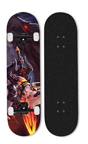 Mopoq El rey de la gloria utiliza la tecnología de transferencia térmica para los principiantes de skate, niños, adultos, tableros profesionales, doble inclinación de cuatro ruedas, sin deslizamiento,