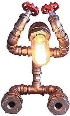 Bermnn Luz de Lectura Luz de Trabajo Lámpara Ático del Tubo de Agua Robot lámpara de Mesa, E27 Retro Creativo Industrial Dormitorio lámpara de cabecera, Bar Cafetería Restaurante Decoración lámpara: Amazon.es: Hogar