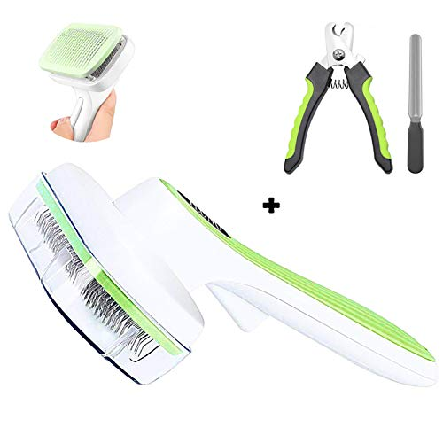 UHKZ Grooming Brushes Set-Self Cleaning Pet Slicker and Nail Clippres for Dogs and Cats with Long Short Hair.Easy to Clean Pet Grooming Brushes Tools for Shedding