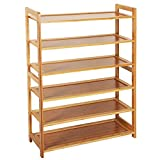 KCHEX 6 Tier Wood Bamboo Shelf Entryway Storage Shoe Rack Home Furniture Organizer Bench Holder Seat Natural Hallway Home