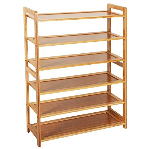 KCHEX 6 Tier Wood Bamboo Shelf Entryway Storage Shoe Rack...