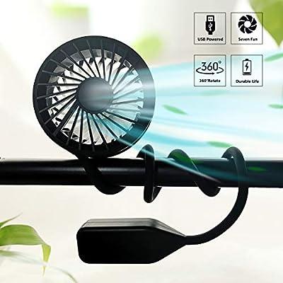 Portable Fan Hand Free USB Mini Fan, Neck Fan Rechargeable Wearable Neckband Fan Personal Hand Held Stroller Fan Desk Fan Foldable Sport Fan with 3 Speeds for Travel Outdoor Home Office (Upgraded)