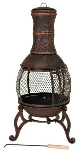 Varilando® Praktischer Terrassenofen aus Gusseisen im Antik-Look Gartenkamin Outdoor-Ofen