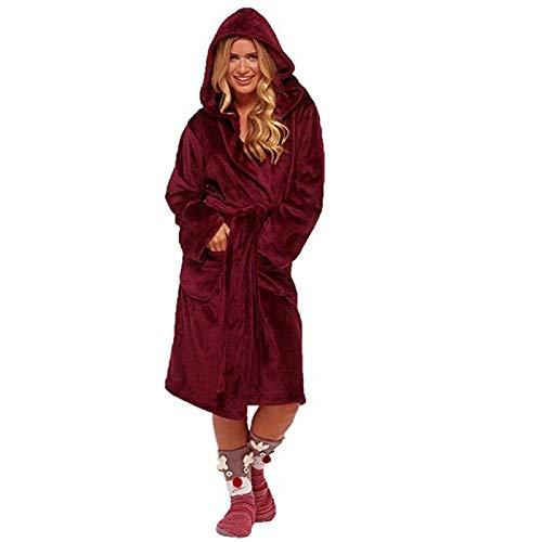 Pijamas Mujer Camisón Camisones Gruesos De Invierno para Mujer, Albornoz De Invierno, Pijamas para Mujer, Bata De Franela De Baño, Bata Cálida, Batas para Mujer, Batas De Terciopelo Coral XL Rojo