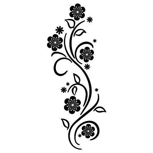 Wandtattoo Blumen Ranke Verzierung Schnörkel - 49 Farben - 4 Größen/schwarz / 20 x 51 cm
