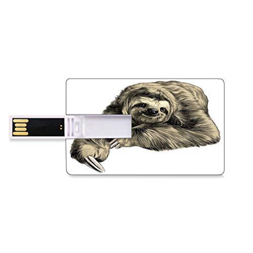 16 GB USB-Flash-Thumb-Laufwerke Faultier Bank Kreditkarte Form Business Key U Disk Memory Stick Speicher Süß lächelnde Dschungeltiere mit gekreuzten Beinen liegend Tropic Fauna Sketch,Elfenbeinschwarz