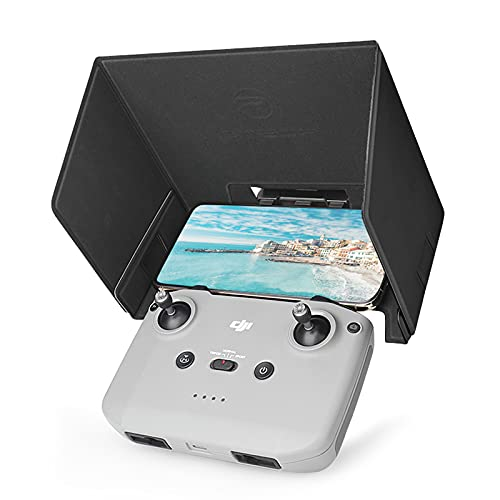 O'woda Mini 2 Parasole Paraluce per 4,4-7,0 inch Telefono, Sole Cappuccio Pelle PU Pieghevole, Design ad Adsorbimento Magnetic Sun Hood per DJI Mavic Mini 2 /Air 2 /Air 2S Telecomando (Nero)