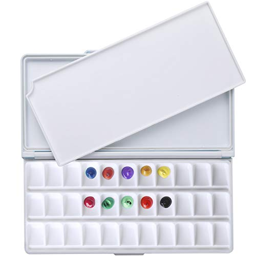 MEEDEN Airtight Leakproof Watercolor Palette Travel Paint Tray with A Large Mixing Areas, 33 Wells Lake Blue Folding Palette for Watercolor, Gouache, Acrylic Paint