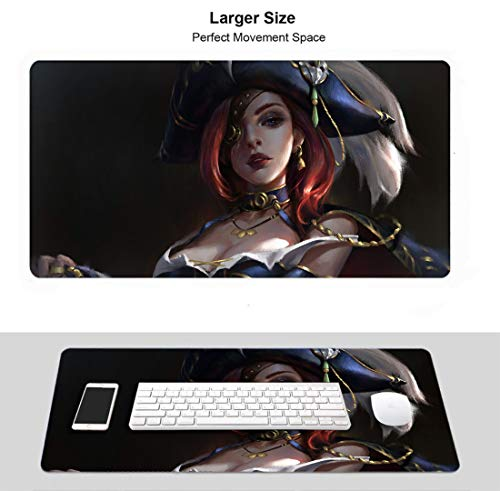 Extended Size Professional Gaming Mouse Pad for League Legends, Stitched Edges Ultra Thick 3Mm (Miss Fortune)