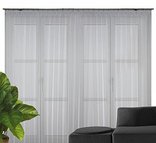 Fertigstore Fidji Voile/Längsstreifen mit Faltenband Farbe weiss Größe HxB 125x300 cm