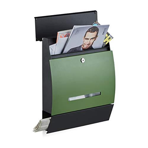 Relaxdays Casetta della Posta, Postale a Parete con portagiornale, verniciatura a Polvere, Metallo, Verde-Nero, HxLxP: 45x35x11 cm