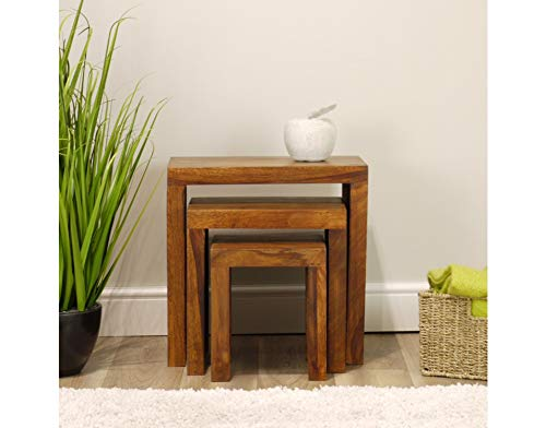 Indiana Solid Rosewood Nest of Tables | 3 Nesting End Tables Dark Wood Cube