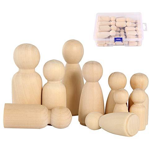 FlowersSea 50 Stück Holzfiguren DIY Holz-Puppen Familie Figuren Mann Frau Junge Mädchen Kinder Krippenfiguren zum Bemalen BastelnHolz Heimdekoration