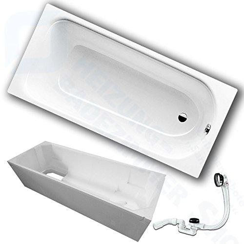 Kaldewei Saniform Plus Stahl Badewanne inkl. Wannenträger und Ablaufgarnitur (180 x 80 cm)