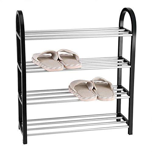 Zapatero Apilable De 4 Capas Estante Vertical De Aluminio para Zapatos Estante De Almacenamiento Caja De Almacenamiento para El Hogar Accesorios Zapatero Ahorro De Espacio,Negro