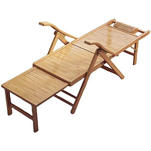 CCLLA Holzliegestühle im Freien Terrassenliegestühle, Sommerstrandstuhl mit Verstellbarer Rückenlehne, Gartenbank mit versenkbarem Fußschemelbrett, Cooler klappbarer Liegestuhl aus natürlichem Bam