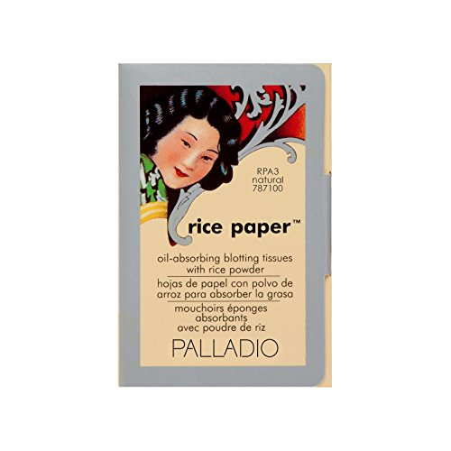 Palladio Rice Paper Tissue, Natural, Face Blotting Sheets with Natural Rice Powder Absorbs Oil and...