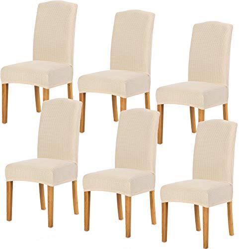 TIANSHU Fundas para sillas 6 Piezas,Poliéster Elástica Fundas sillas Duradera Modern Bouquet de la Boda Hotel Decor Restaurante(6 Piezas,Marfil)