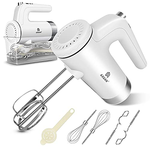 Hand Mixer Electric - AXUAN 400W Power 9 Speed Handheld Kitchen Mixers with Timer and Digital Screen, 6 Stainless Steel Attachments(2 Beaters, 2 Dough Hooks and 2 Whisk), Storage Case, White