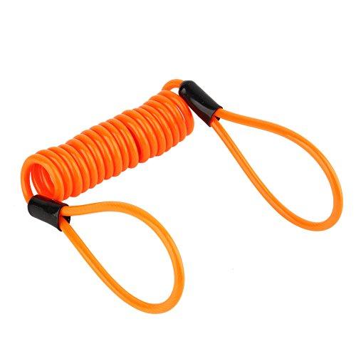 Keenso 1.2m Motorrad Orange Disc-Sperre Alarm Lock Sicherheit Frühling Reminder Kabel für Roller Motorrad Bike Bremsscheibe Lock Reminder Kabel Diebstahlschutz am Lenker