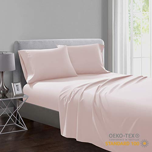 SHALALA NEW YORK Oeko-TEX Certified Sheet Set - Soft Brushed Microfiber – Wrinkle Free and Hypoallergenic - 1 Fitted Sheet (14 Inch Deep Pocket) 1 Flat Sheet 1 Matching Pillowcase (Blush Pink, Twin)