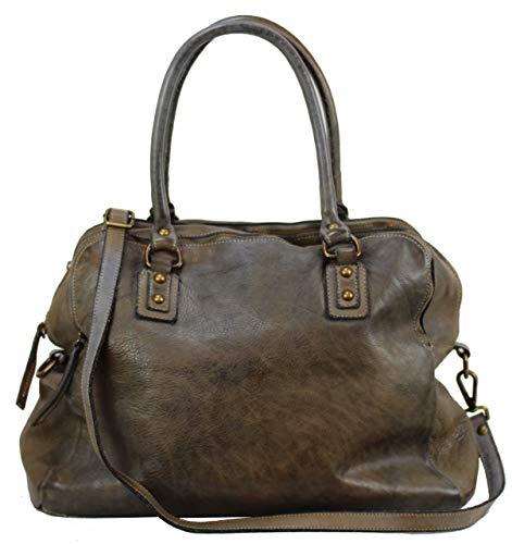 BOZANA Bag Lue taupe Italy Designer Messenger Damen Handtasche Ledertasche Schultertasche Tasche Leder Shopper Neu