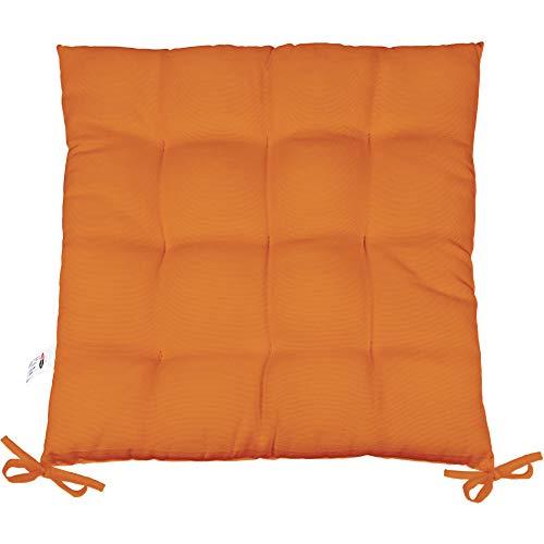 CelinaTex Yoyo Sitzkissen 40 x 40 cm orange Gartenstuhlkissen mit Bänder Sitzauflage Garten Balkon Terrasse