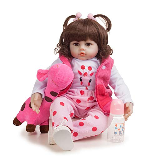 Gigicloud Reborn Baby Doll Toy, Silicone Baby Doll Simulation Quality Realistic Handmade Baby, Kids Gifts / Toys Age 3++ 58CM Brown eye