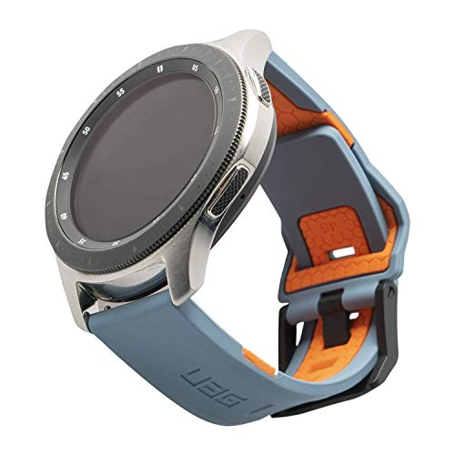 Urban Armor Gear Civilian bracciale per Samsung Galaxy Watch 46mm, Gear S3 Frontier 46mm & Classic 46mm, Watch Active 2 (44mm) - [silicone cinturino, chiusura in acciaio inossidabile] blu arancione