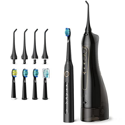 Elektrische Zahnbürste mit Munddusche , 4 Stunden Ladezeit für 30 Tage Nutzung , 5 optionale Modi und 4 Bürstenköpfe Ultraschall Zahnbürste , Munddusche mit 3 Modi und 4 Düsenspitzen
